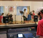 Photo of Jess, Zach, Zia Grace and Bud Tingwell in the recording studio
